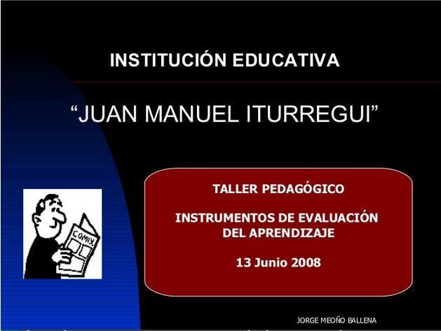 InstrumentosEvaluaciónAprendizajeTallerPedagógico-Presentación-BlogGesvin