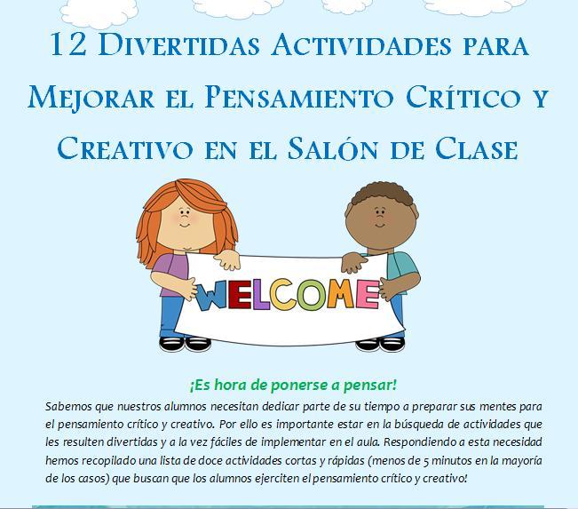 12 Divertidas Actividades para Mejorar el Pensamiento Crítico y Creativo en el Aula.