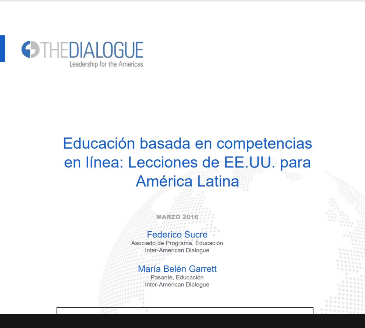 Educación Basada en Competencias en Línea (EBCEL) - Lecciones de EE.UU. para América Latina.